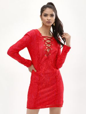 KOOVS Lace Dress With Tie Up