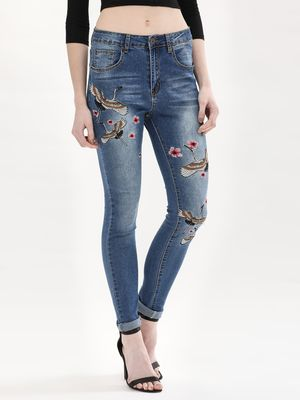 Liquor n Poker Oriental Flowers & Swan Embroidered Jeans