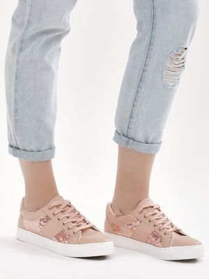 New Look Sequin Panel Lace Up Trainers