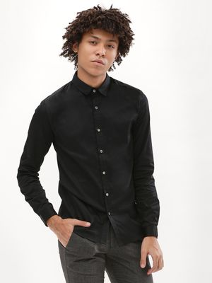 KOOVS Satin Muscle Fit Shirt With Metallic Buttons