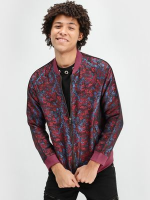 KOOVS Brocade Bomber Jacket With Contrast Rib