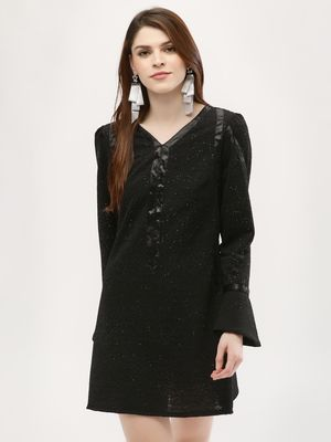 KOOVS Glitter Jersey Bell Sleeve Dress