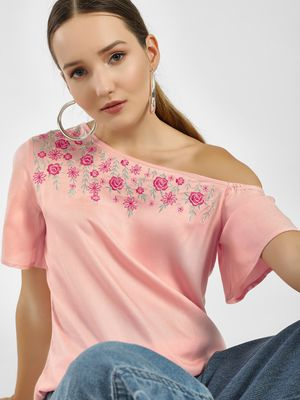 Femella Floral Embroidered One Shoulder Blouse