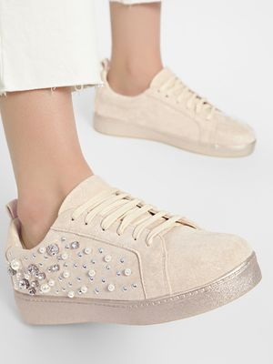 Sole Story Pearl & Gem Embellished Sneakers