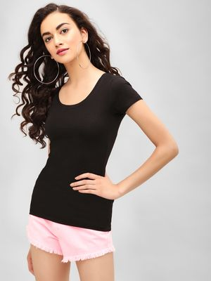 KOOVS Scoop Neck Slim T-Shirt