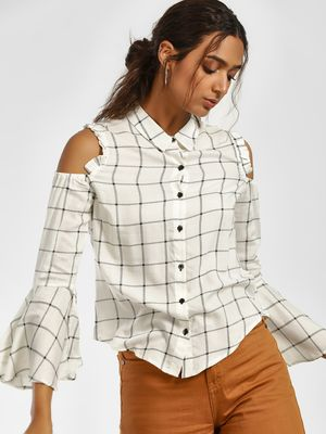 Blue Sequin Windowpane Check Cold Shoulder Shirt