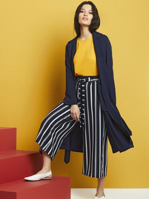 KOOVS Notch Collar Belted Trench