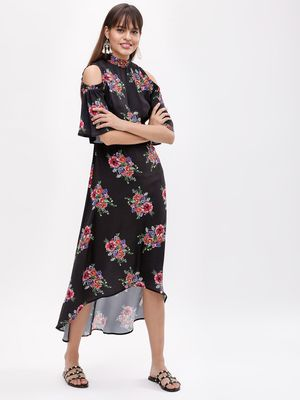 KOOVS Floral Cold Shoulder Dress