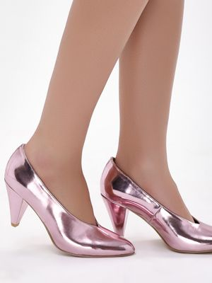 New Look Metallic V-Neck Pumps