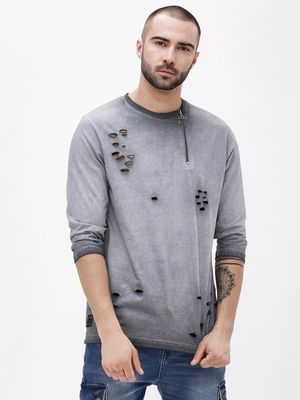 Garcon Pigment Wash Zippered Distressed T-Shirt