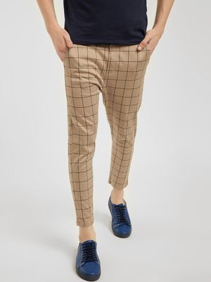 Spring Break Windowpane Check Cropped Slim Trousers