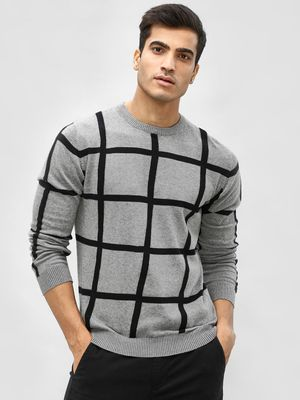 Akiva Windowpane Check Crew Neck Pullover