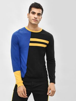 KOOVS Colour Block Panelled Pullover