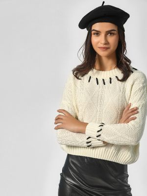 KOOVS Ivory Texture Knitted Pullover