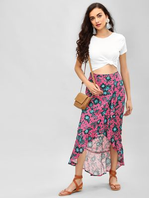 KOOVS Tropical Floral Print Maxi Skirt