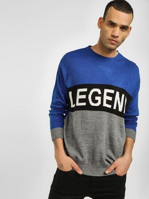 KOOVS Intarsia Slogan Colour Block Pullover