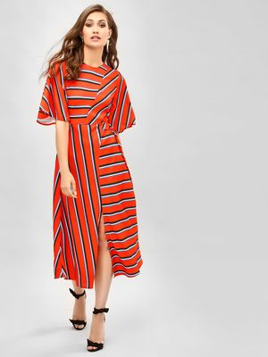 KOOVS Striped Cut-Out Midi Dress