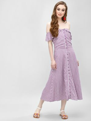 Femella Gingham Off Shoulder Dress