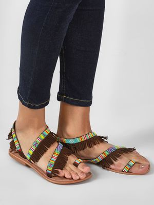 Rock my Heels Beaded Sandals With Fringes