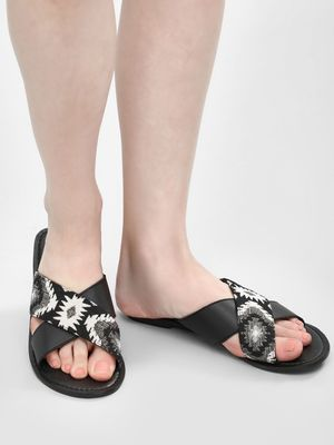 THEEA Cross Strap Embroidered Sliders