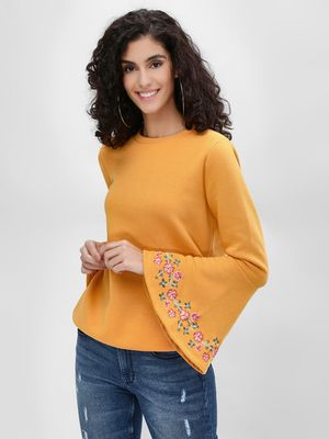 Femella Floral Embroidered Bell Sleeve Sweatshirt