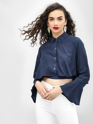 MIWAY Flared Sleeve Crop Shirt