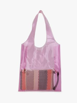 Origami Lily Clear Tote Bag With Pouch