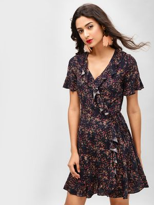 Cover Story Ruffle Wrap Printed Skater Dress
