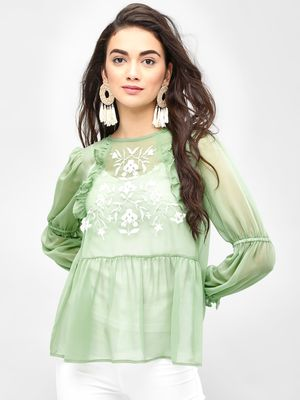 KOOVS Frill Detail Embroidered Top