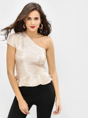 Benoit Metallic One-Shoulder Peplum Top