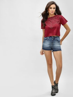 K Denim KOOVS  Frayed Slim Denim Shorts