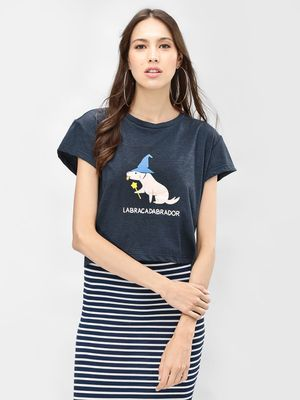 Spring Break 'Labracadabrador' Slogan Printed T-Shirt