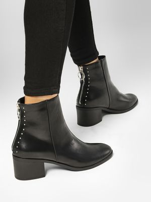 Truffle Collection Studded Zip Back Heeled Boots