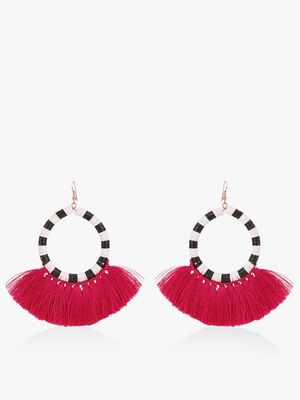 Blueberry Concentric Tassel Drop Earrings