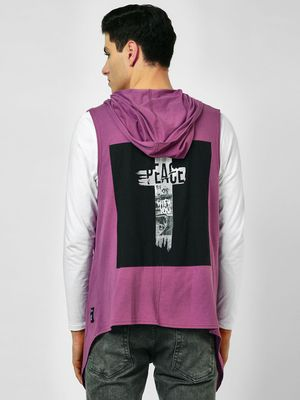 Kultprit Slogan Back Sleeveless Hooded Cardigan