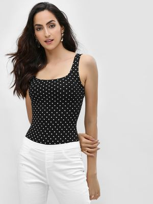 Lasula Polka Dot Square Neck Bodysuit