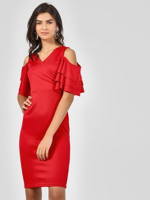 KOOVS Bodycon Dress With Ruffled Sleeves