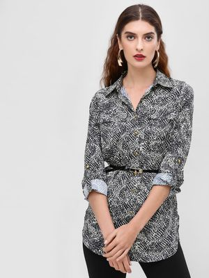 KOOVS Animal Print Button-Up Shirt