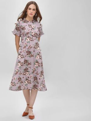 KOOVS Floral Printed Midi Dress