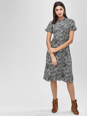 KOOVS Animal Print Midi Dress