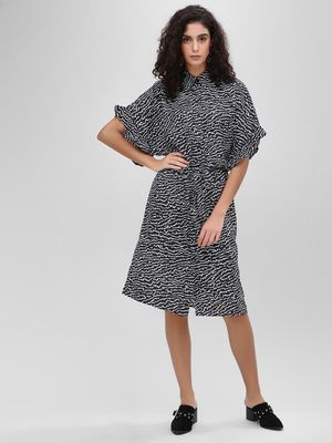 KOOVS Monochrome Belted Shirt Dress