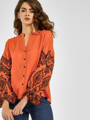 KOOVS Embroidered Sleeve Casual Shirt