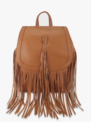 Paris Belle Suede Finish Fringed Backpack