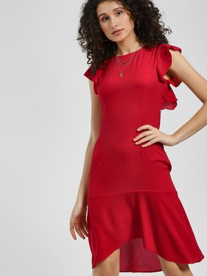 KOOVS Ruffle Back Cutout Shift Dress