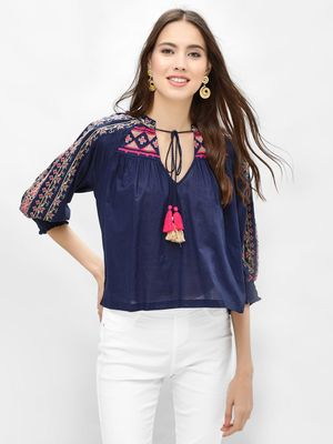 Rena Love Embroidered Blouse With Tassel Tie Up