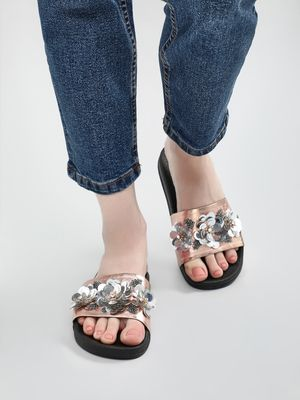 KOOVS 3D Sequin Flower Slides