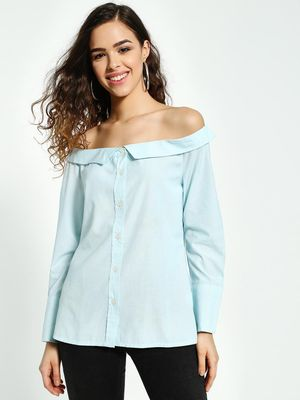 PostFold Vertical Stripe Off-Shoulder Shirt