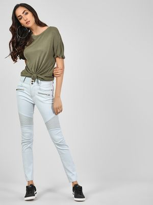 Iris Washed Biker Panel Skinny Jeans