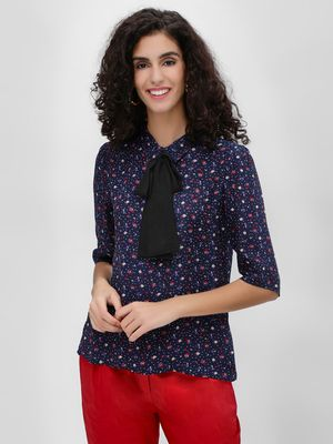 Cover Story Floral Printed Contrast Bow Blouse