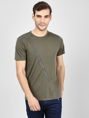 KOOVS Diagonal Zip Detail T-Shirt